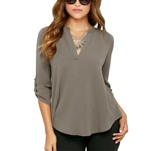 Tops - Sexy Women V-neck Solid Chiffon Blouse  - Gray